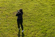 Aerial View on a Golfer Takin...