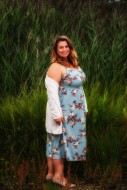 Fat woman in a summer dress