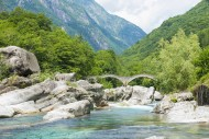 River in Valley Verzasca and ...