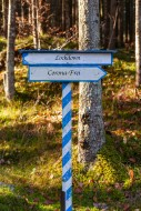 White-blue directional sign, ...