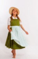 Dancing girl in dirndl with hat.