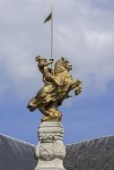 Gilded equestrian statue reme...