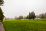 Golf Course with fog in Crans...